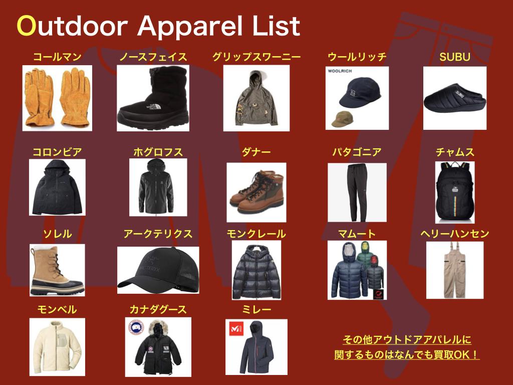札幌のリサイクルショップコレクトワンのアウトドア衣類買取品目